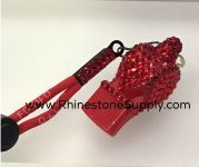 WHISTLE - Red with LIGHT SIAM Rhinestones & Lanyard