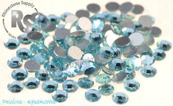 12ss AQUAMARINE - HOT FIX Rhinestones