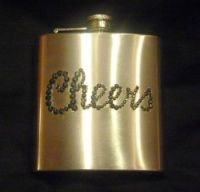 Flask with CHEERS Rhinestone Design