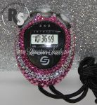 Stopwatch by Sportline with PINK (Rose) Rhinestones