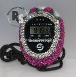 Stopwatch by Sportline with HOT PINK (Fuchsia) Rhinestones
