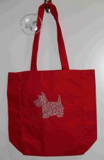 Tote Bag with Westie Dog in Rhinestones
