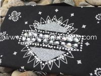 Biker Bling Bandana for the Harley Ladies - Black with larger Silver Glitter Shield
