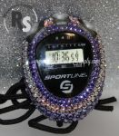 Stopwatch by Sportline with PURPLE (Tanzanite) Rhinestones
