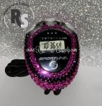 Stopwatch by Sportline with HOT PINK (Fuchsia) and BLACK Rhinestones