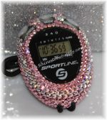 Stopwatch by Sportline with LIGHT ROSE (Pink) Rhinestones