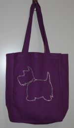 Tote Bag with Westie Dog Outline in Rhinestones