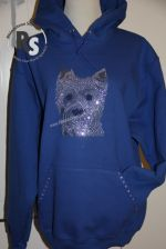 Westie Rhinestone Face on Hooded Sweatshirt