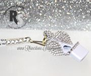 WHISTLE - White with CRYSTAL Rhinestones & Lanyard